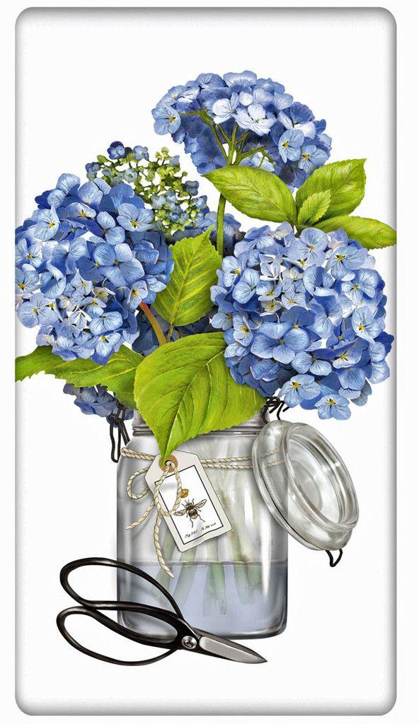 Blue Hydrangeas 100% Cotton Flour Sack Dish Towel Tea Towel