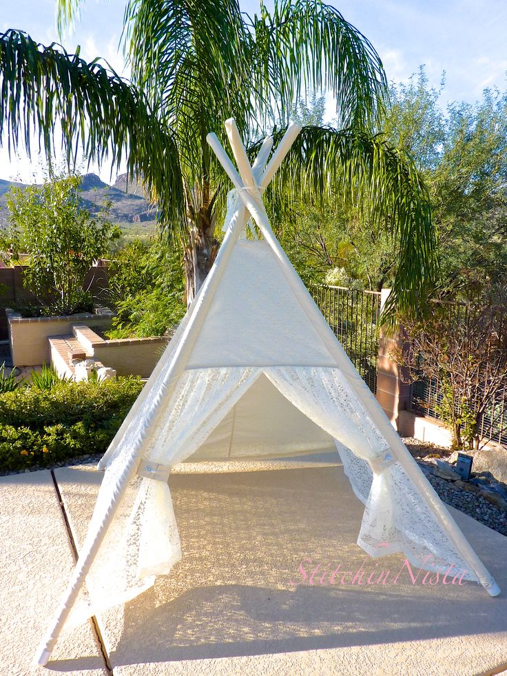 Lace Teepee In Ivory   Fort Tent Indoor Outdoor Play Photo Prop Tee Pee  Playhouse