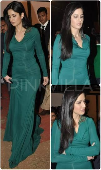 Katrina Kaif was spotted in a green gown by Roberto Cavalli at the Umang police show 2014.