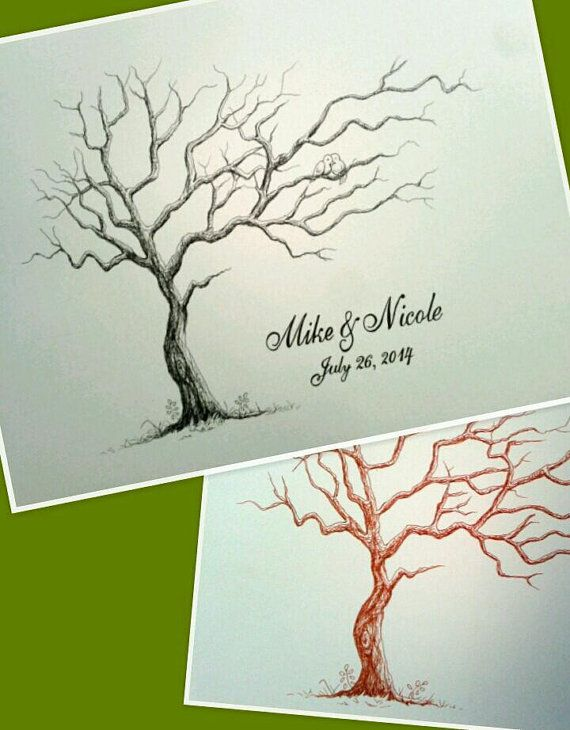 "18"" by 24"" Large Horizontal Wedding Thumbprint Tree, Wedding Guest Book Alternative. Black or Brown Ink. FREE SHIPPING"