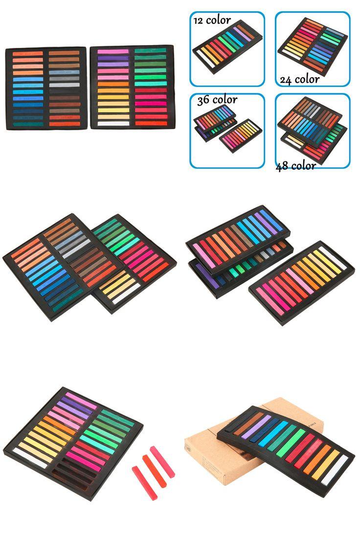 [Visit to Buy] 2017 Newest 12/24/36/48 Color Magic-Beauty Hair Chalk Temporary Hair Dye Color Sticks Kit Soft Pastels Salon Set #Advertisement