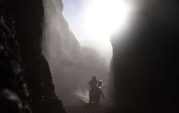 January 5, 2017:    SHADOWS AND LIGHT  -    Chilean biker Pablo Quintanilla powers his Husqvarna during Stage 3 of the 2017 Dakar Rally between San Miguel de Tucuman and San Salvador de Jujuy, Argentina, on Wednesday.