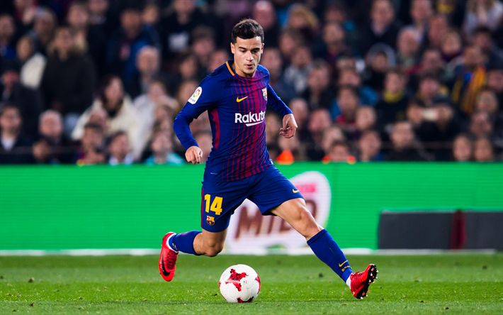 Download wallpapers Coutinho, match, FC Barcelona, footballers, FCB, La Liga, Barca, soccer, Philippe Coutinho, Barcelona, Phil Coutinho, LaLiga, Barcelona FC