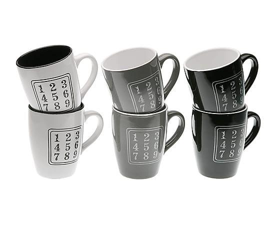 Set de 6 mugs de gres Números - blanco, negro y gris