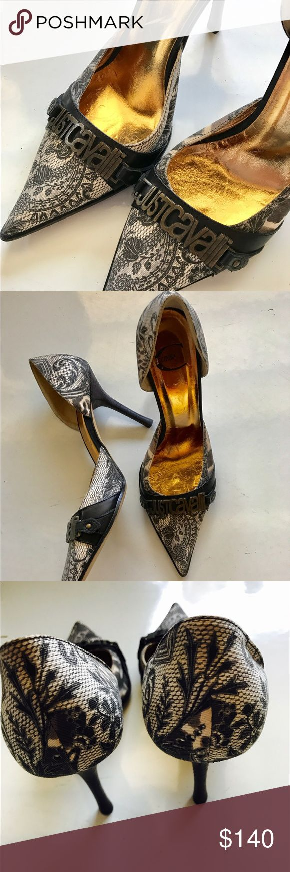 """Just Cavalli""  Women's Heels Near mint condition with no signs of wear except on the bottoms. Unique shoe!! Ships without box Just Cavalli Shoes Heels"