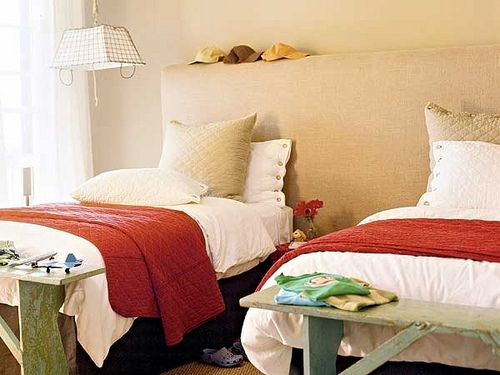 Boys Room - Interesting Use Of One Big Upholstered Headboard For Two Twin Beds