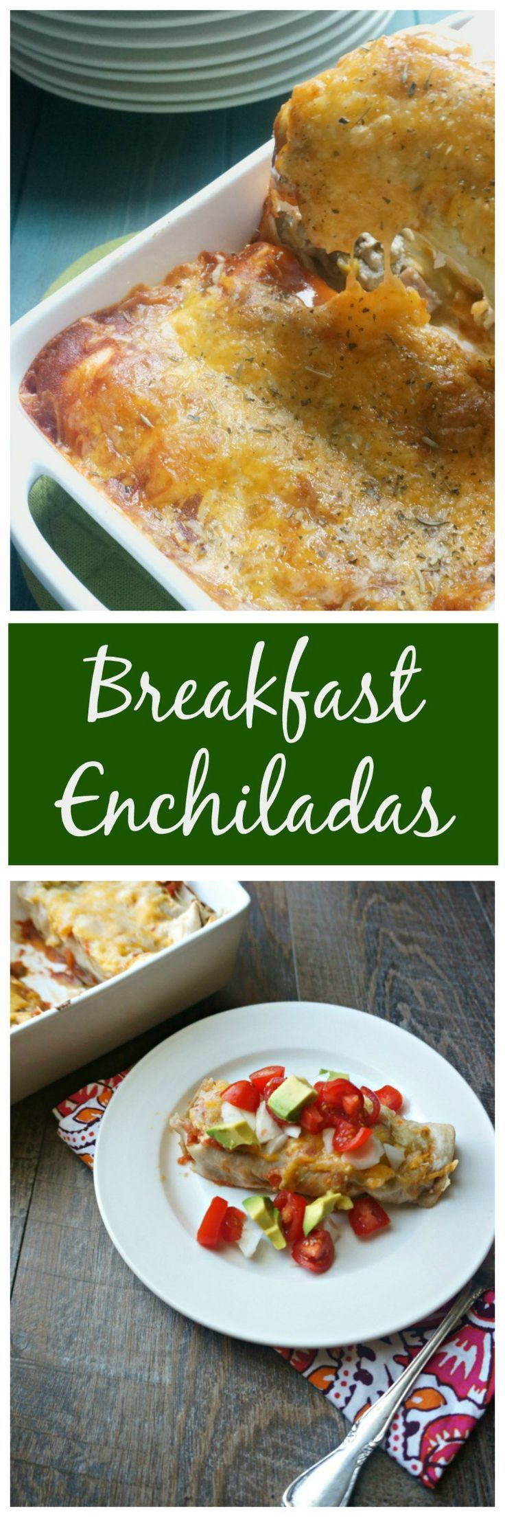Breakfast Enchiladas: Fresh tortillas are filled with chorizo, scrambled eggs, black beans, and fire roasted corn and then smothered in homemade enchilada sauce and sharp cheese.