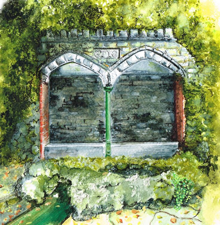 Wishing well Upwey Dorset Watercolour