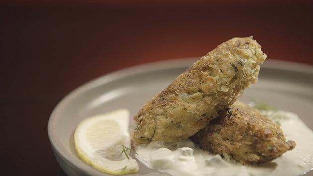 Zucchini Fritters with Tzatziki recipe by Caitie and Demi. #MKR #CaitieDemi #Entree