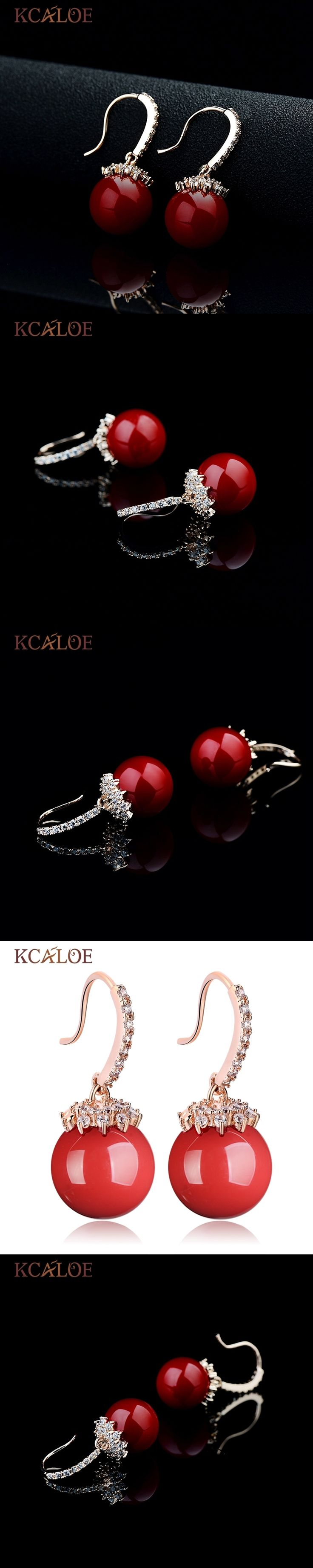 KCALOE Red Dangle Earrings Large Ball Artificial Coral Wedding Rose Gold Color Cubic Zircon Crystal Earring Women Jewelry