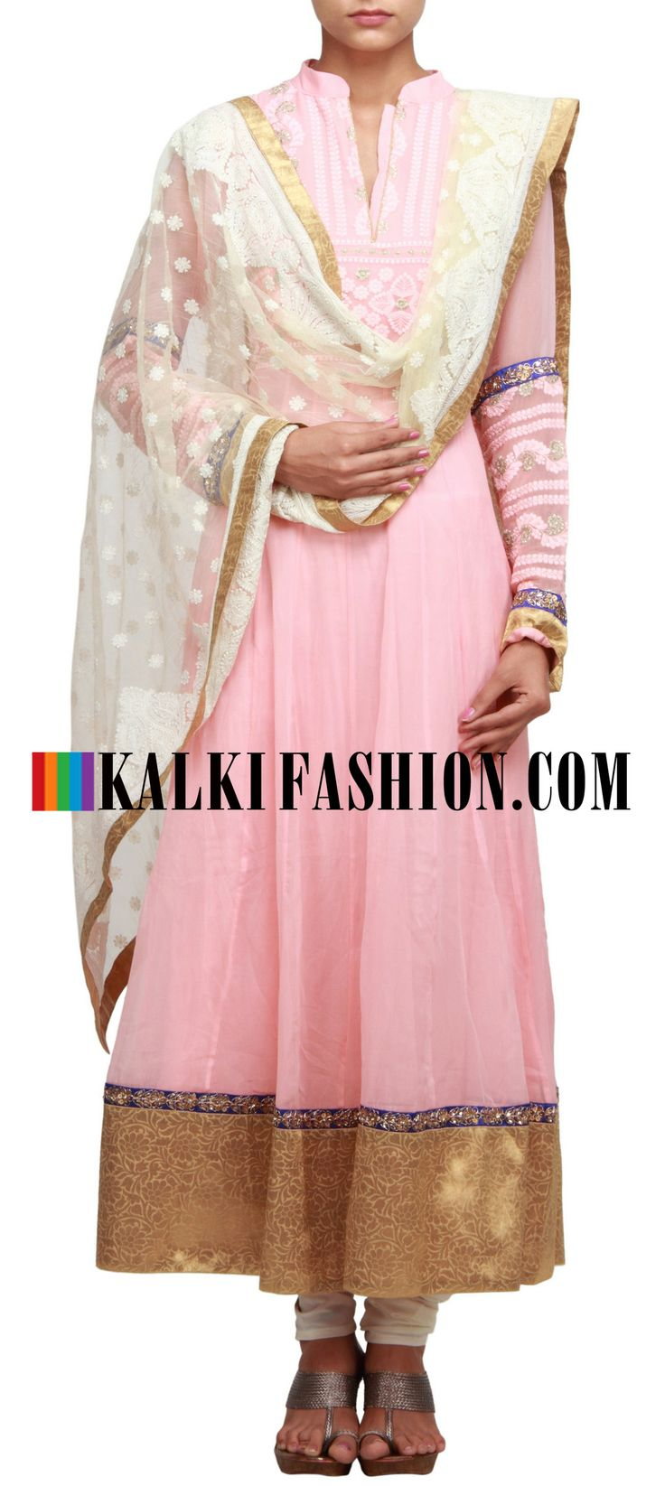 Buy Online from the link below. We ship worldwide (Free Shipping over US$100) http://www.kalkifashion.com/pink-anarkali-suit-embellished-in-lucknowi-embroidery-only-on-kaki.html