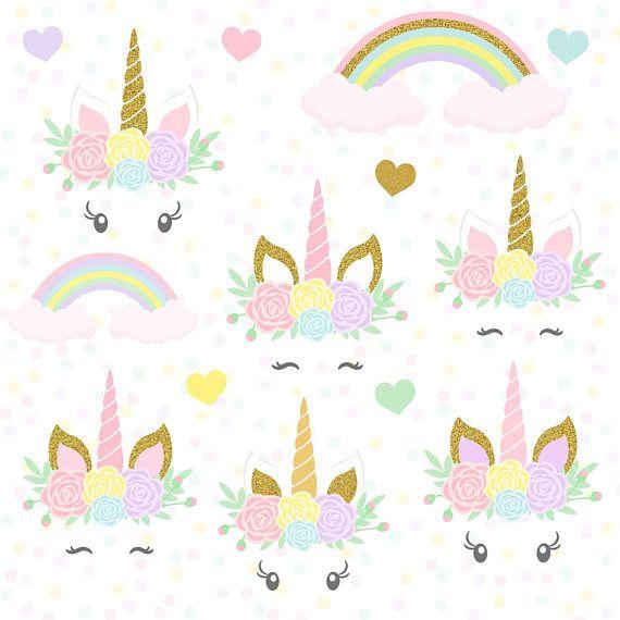 Magical Unicorn, Unicorn Clipart, Unicorn Face, Unicorn Head