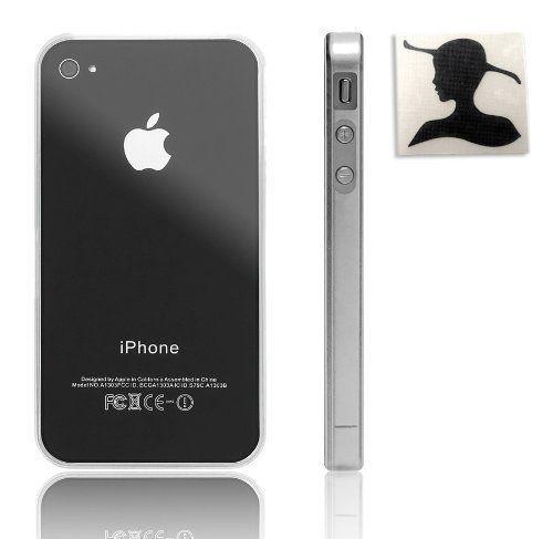 Lini® Schutz: Bumper i4 transparent für iPhone 4/4S/4 S schlanke, elegant Hülle Schutzhülle (cover case) aus hochwertigem Kunststoff mit Lini® Sticker