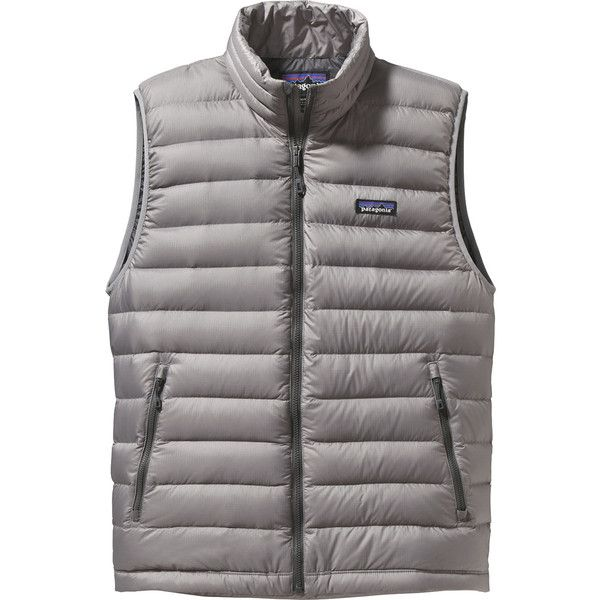 Patagonia Down Sweater Vest ($134) ❤ liked on Polyvore featuring men's fashion, men's clothing, men's outerwear, men's vests, mens vest outerwear, mens zip vest, mens ski vests and mens sweater vest