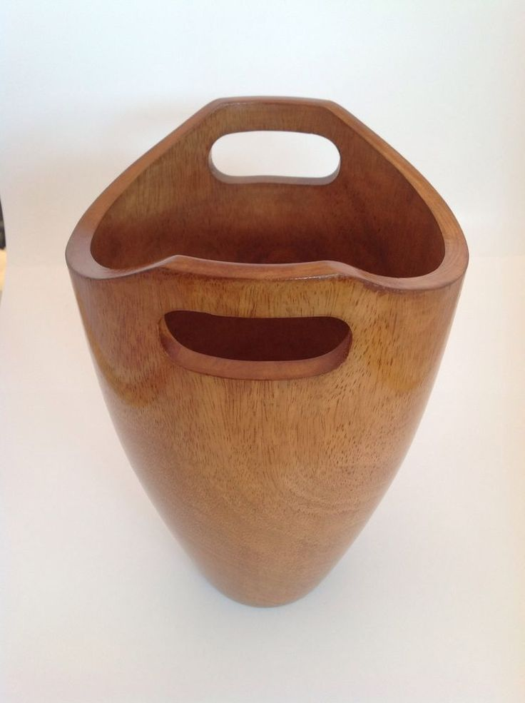 Hand carved  Brown Stained Wood Decorative Waste Basket Modern Asian Round #GiftsDecor #Asian