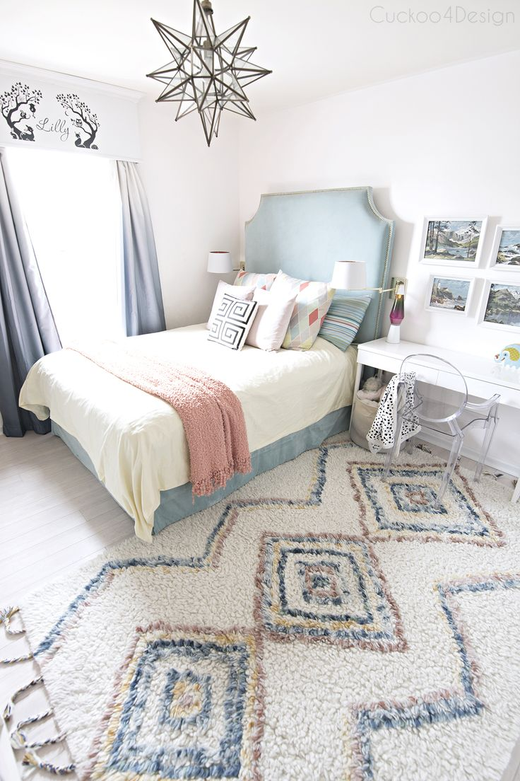 turquoise yellow and blue girls bedroom with colored moroccan shag rug