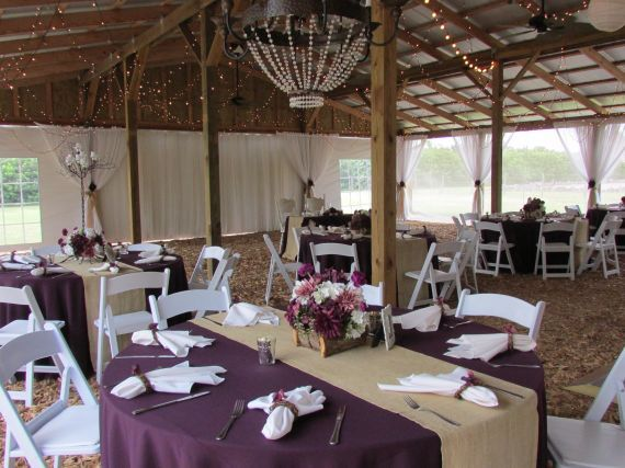 Eggplant Tablecloths With Burlap Runners