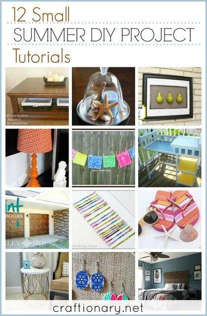 12 Small Summer DIY Projects by @Craftionary . net Easy Tutorials, seashells, frames, lamps. #summerbaby #crafts