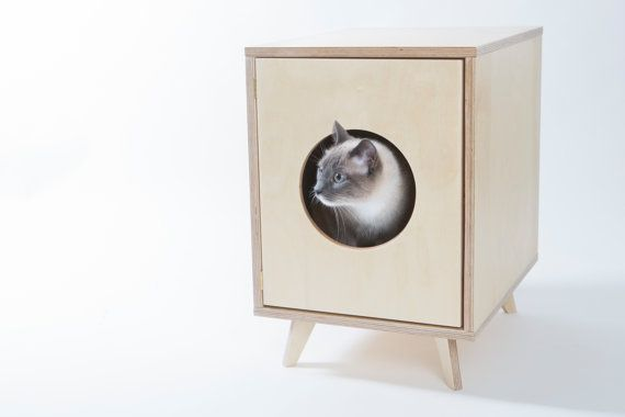 Cat Litter Box Cover Pet House Hideaway by BlackVelvetPets