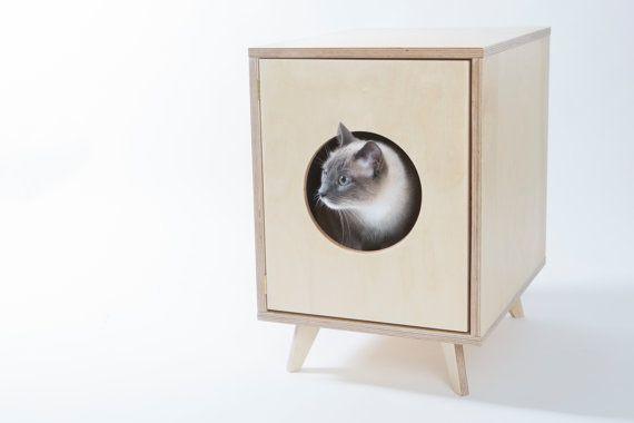 Cat Litter Box Cover - Pet House - Hideaway - Scandinavian Style Pet Furniture - Modern Litter Box Cabinet - Gift for a Cat Lover
