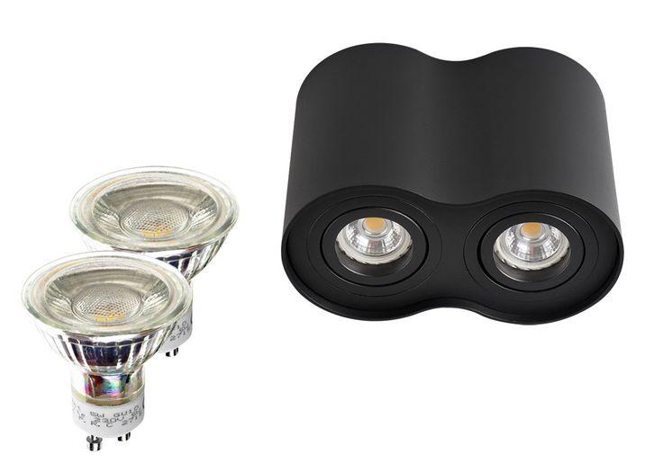 2er LED Aufbaustrahler Set halbrund Aluminium schwarz mit LED Markenspots LC Light 5 Watt