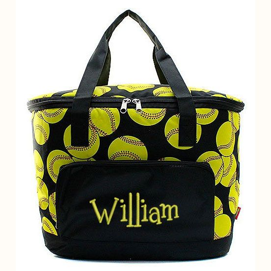 insulated softball cooler tote bag - monogrammed - yellow  red  black -