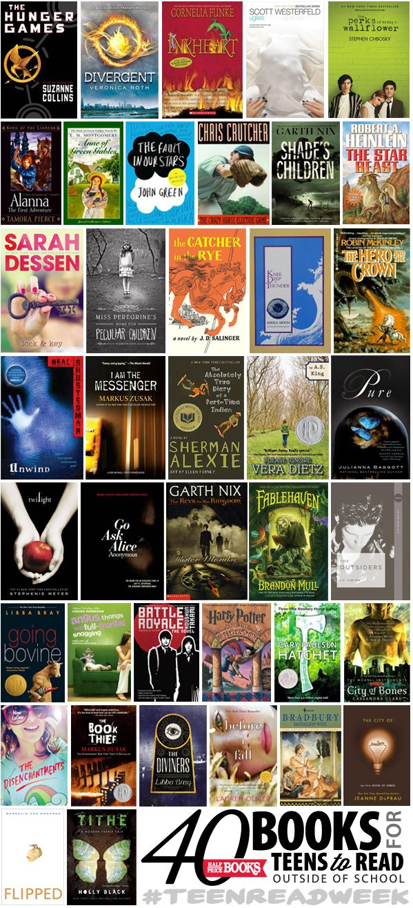 """""""Top 40 Teen/YA Reads for outside school (Half Price Books staff picks) // blog.hpb.com"""" - all the books I have read from here so far are great books :) can't wait to read the rest !"""