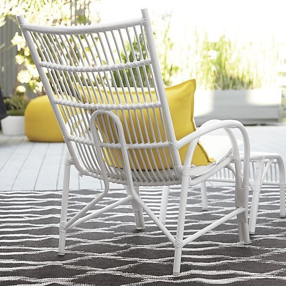 kruger white high back lounge chair with sunbrella white cushion crate and barrel