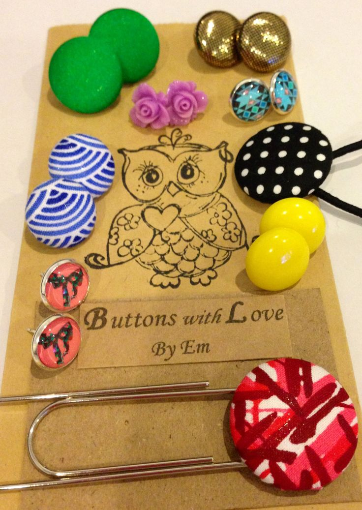 Button, flower, glass, stone earrings, bookmark and hair ties! Xx