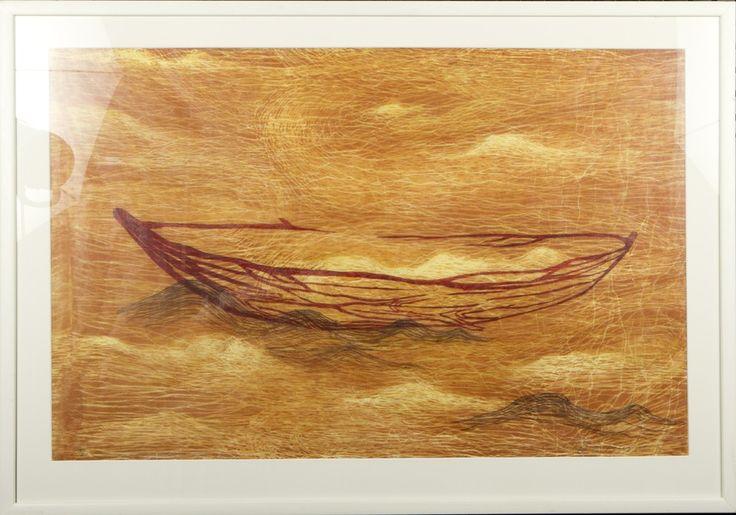 Outi Kirves: Rantautunut, 2003, puupiirros, 64x99 cm, edition 5/20 - Hagelstam A126