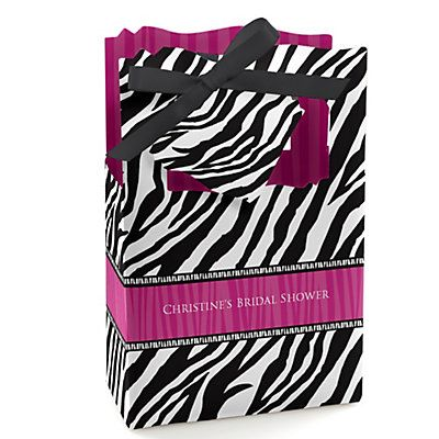 Zebra Hot Pink - Personalized Bridal Shower Favor Boxes   BigDotOfHappiness.com