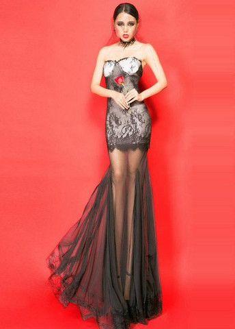 Knockout Tube Pattern Mesh Splicing Printed Mermaid Dress – teeteecee - fashion in style