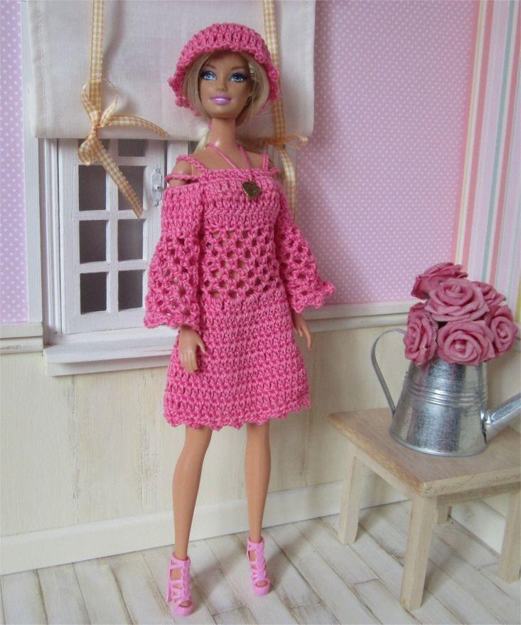 """118- FICHE PATRON CROCHET Ensemble """"Miss B"""" pour poupée Barbie : Jeux, jouets par atelier-crochet"""