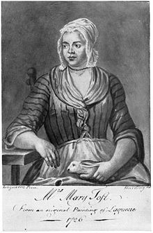 Mary Toft (née Denyer; c. 1701–1763), also spelled Tofts, was an English woman from Godalming, Surrey, who in 1726 became the subject of considerable controversy when she tricked doctors into believing that she had given birth to rabbits.