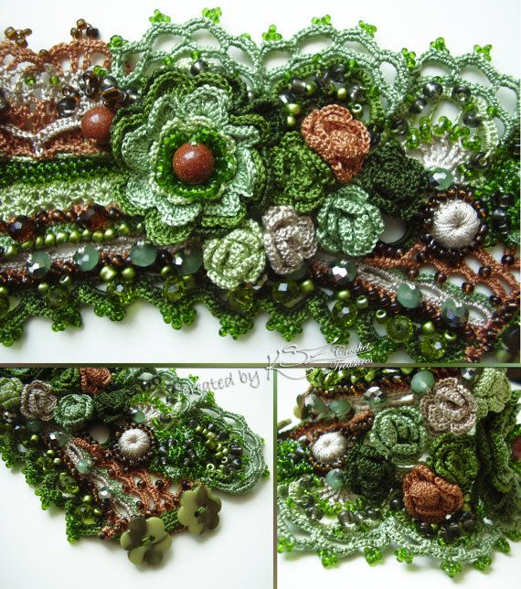 Crochet cuff Crochet bracelet Wrist cuff by KSZCrochetTreasures