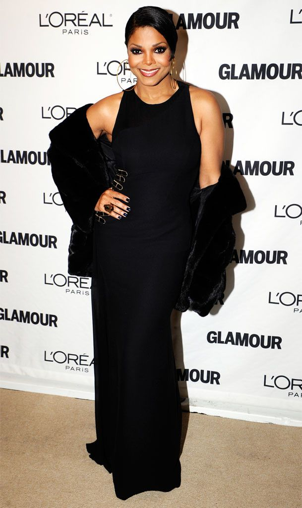Timeless from Janet Jackson's Best Looks From Red Carpet to Concerts The star attended the 2010 Glamour Women of the Year Awards in a floor-sweeping black dress and fur stole.