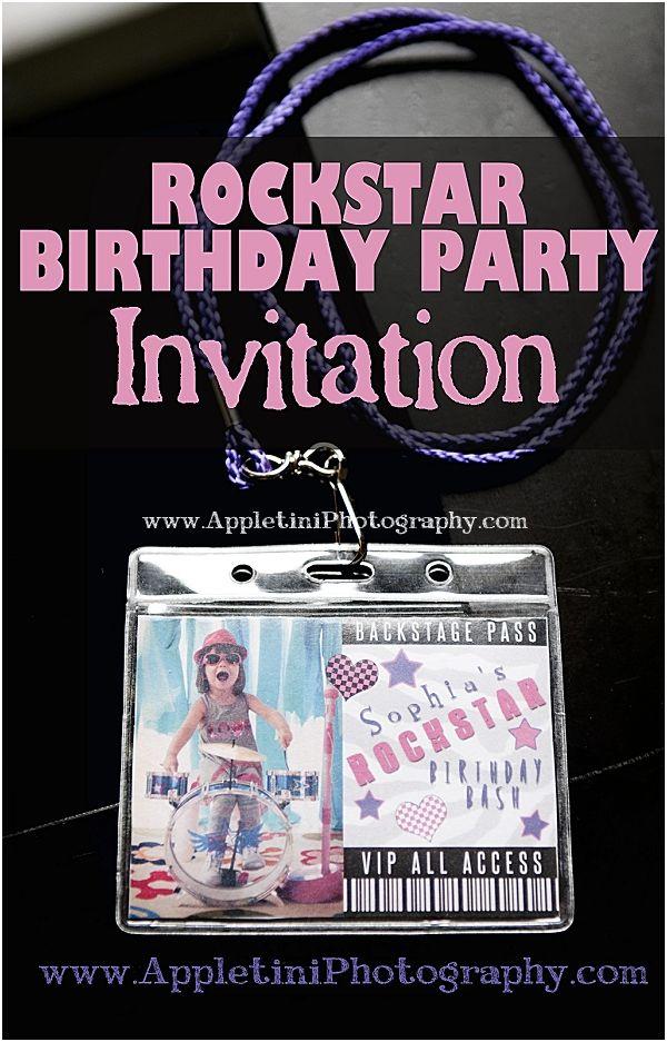 Rockstar Birthday Party Invitation Cute lanyard invitation