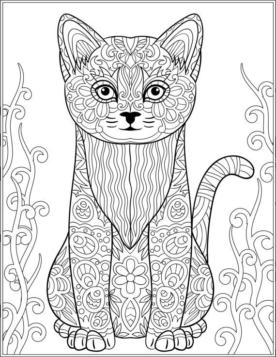 Stress Coloring Pages Animals : Cat stress relieving designs patterns adult by