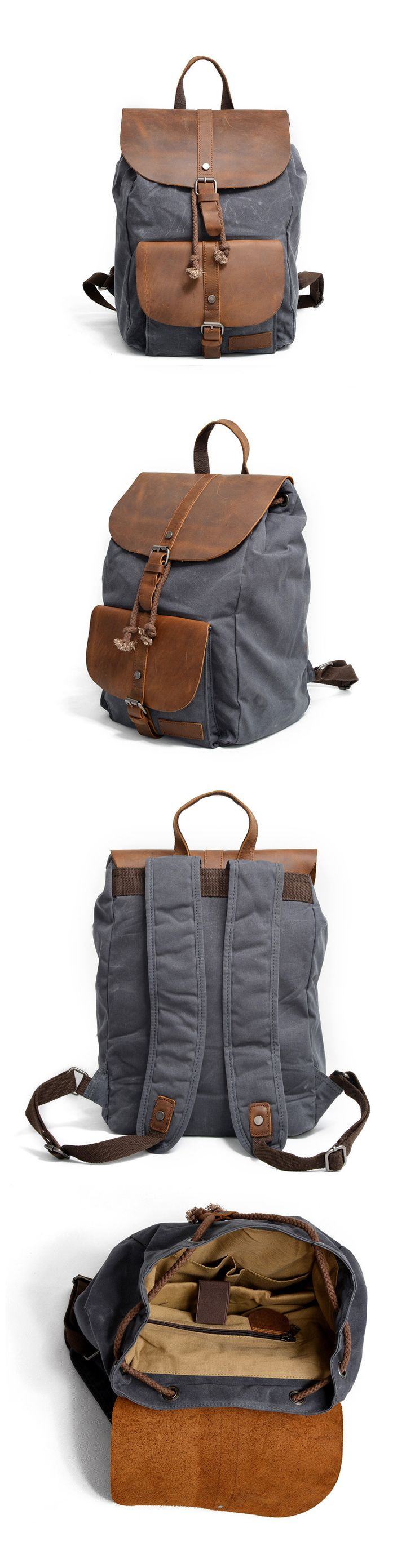 Waxed Canvas Leather Backpack Rucksack School Backpack Travel Backpack