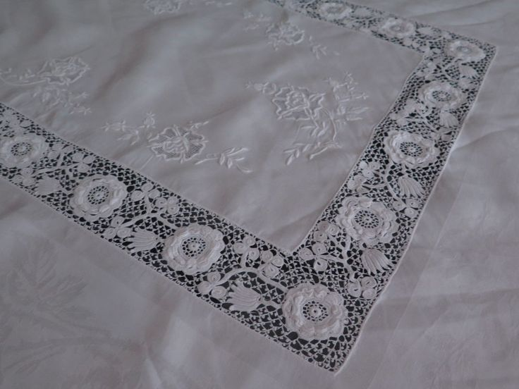 Vtg Antique Irish Crochet Linen Damask Rose Custom Tablecloth Rare Exceptional    eBay