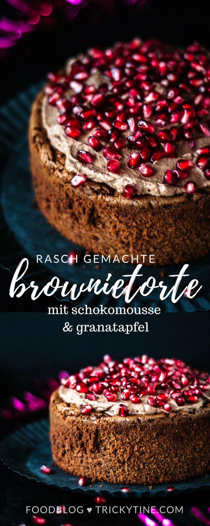 brownietorte mit schokomousse aus dem thermomix und granatapfel ♥ trickytine #thermomix #rezept #food #blogger #baking