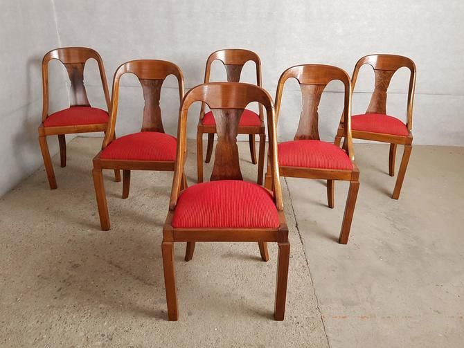 Set Of 6 French Early 20th C Vintage Art Deco Gondola Reupholstered Dining Chairs Dining Chairs Oak Dining Chairs Comfortable Living Room Chairs