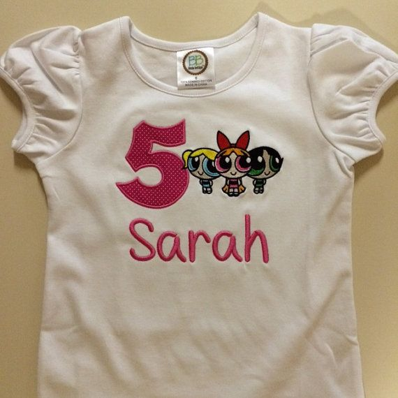 Powerpuff Girls Shirt. We can do the number and name in any color. We can use an initial in place of the number or we can just put a name. Very cute design! Convo me with your ideas. We can also do this on a log sleeve shirt.