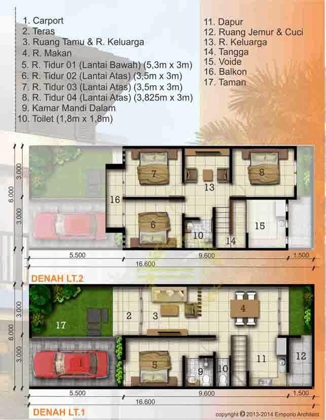 Desain Rumah Minimalis Luas Tanah 100m2, 1 Lantai dan 2 Lantai