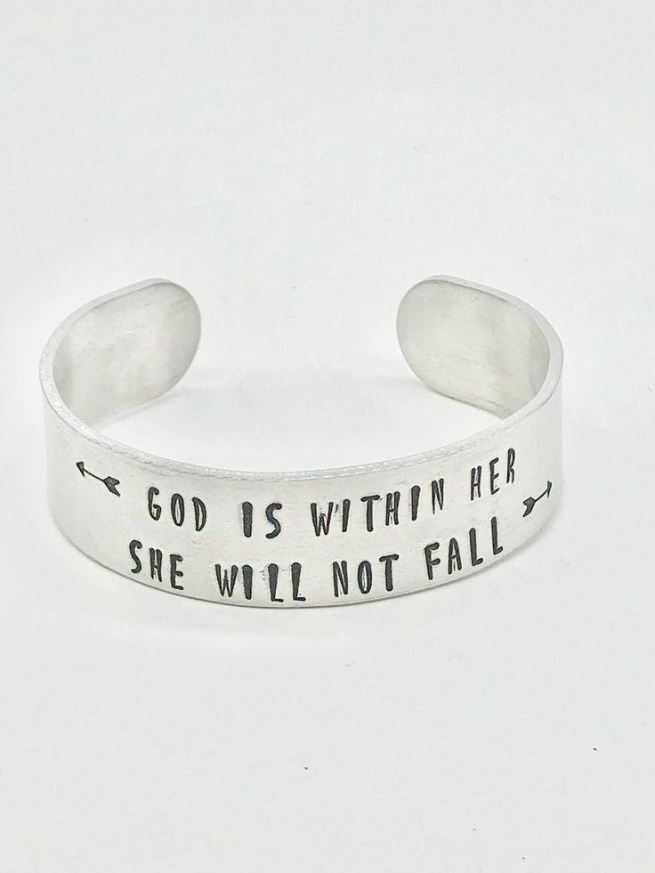 Excited to share the latest addition to my #etsy shop: Scripture Bracelet, Psalm 46:5, Hand Stamped Jewelry, God Is Within Her She Will Not Fall, Hand Stamped Bracelet
