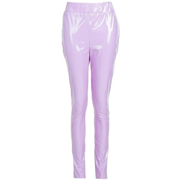 Boohoo Tall Rachel Vinyl Leggings (115 NOK) ❤ liked on Polyvore featuring pants, leggings, purple leggings, legging pants, flat-front pants, vinyl pants and vinyl leggings