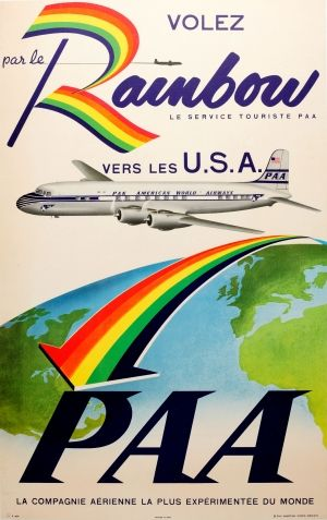 USA Rainbow Service Pan Am, 1950s - original vintage poster listed on AntikBar.co.uk #FindARainbowDay