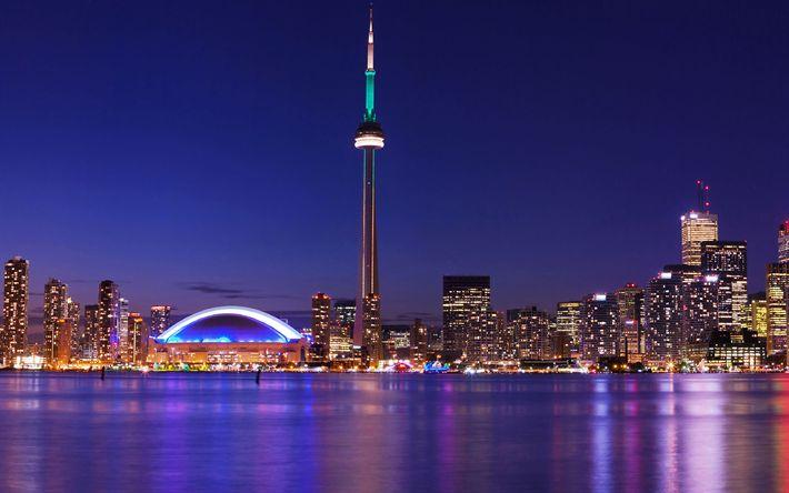 Télécharger fonds d'écran Toronto, la Tour CN, la nuit, les lumières de la ville, gratte-ciel, Canada