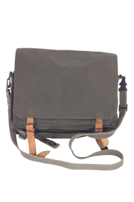 Vintage Canvas Shoulder bag, Men Bag, Military Crossbody Bag from 1980's, Man Messenger Bag