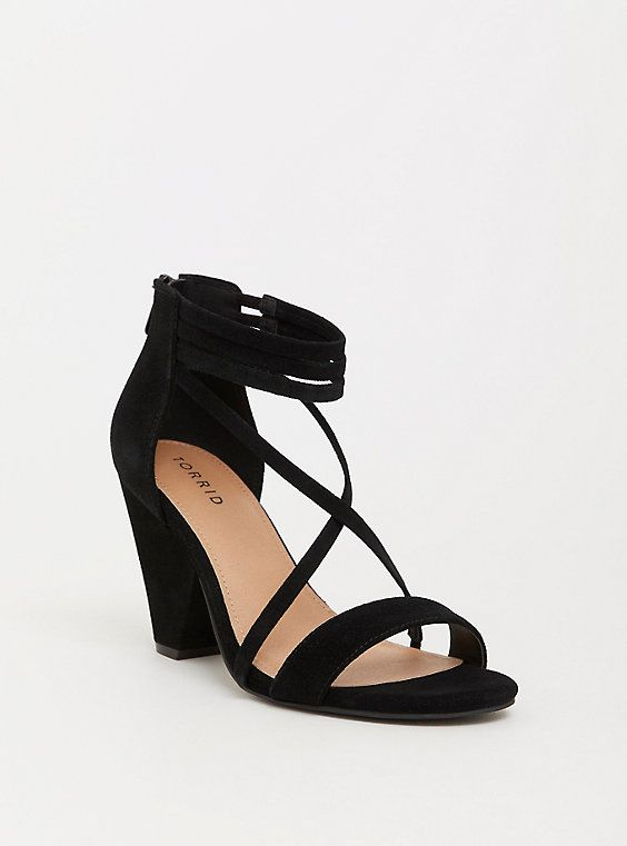 489ec38432b Wide Black Genuine Suede Strappy Cone Heel - Wide Width in 2019 ...
